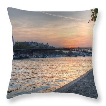 Throw Pillow featuring the photograph Sunset On The Seine by Jennifer Ancker
