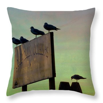 Sunset On The Sign Throw Pillow
