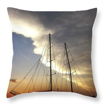 Sunset On The Turkish Gulet Throw Pillow