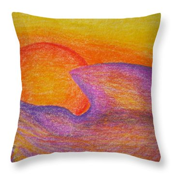 Sunset On Wavy Mountains Detail Of Sun Throw Pillow