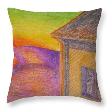 Sunset On Wavy Mountains Throw Pillow
