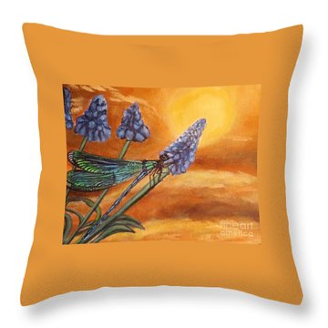 Throw Pillow featuring the painting Summer Sunset Over A Dragonfly by Kimberlee Baxter