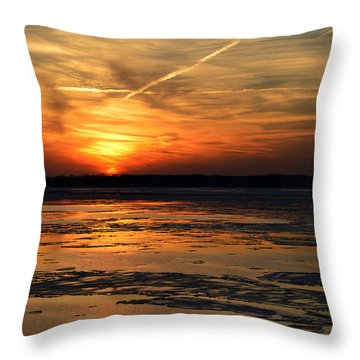 Throw Pillow featuring the photograph Sunset Over A Frozen Chesapeake Bay by Bill Swartwout