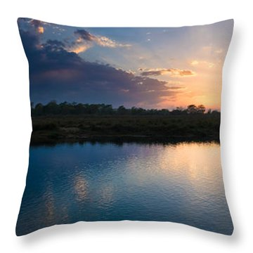 Sunset Over A Lake, Chitwan National Throw Pillow by Panoramic Images