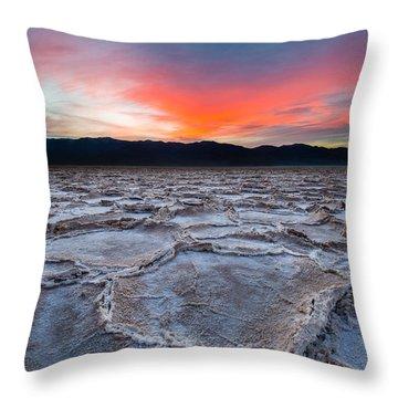 Sunset Over Badwater Throw Pillow