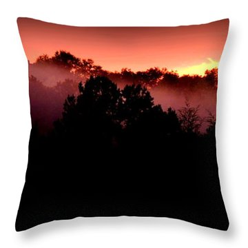 Sunset Over Blue Horse Rescue Throw Pillow