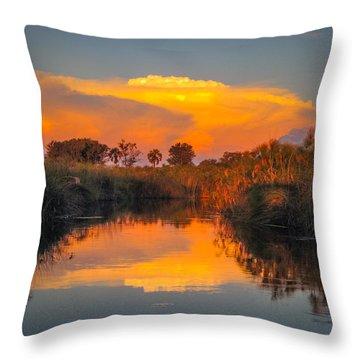 Sunset Over Camp Sandibe Throw Pillow