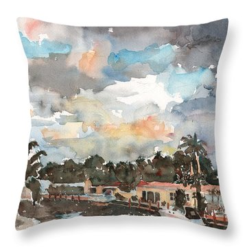 Sunset Over Canal Throw Pillow