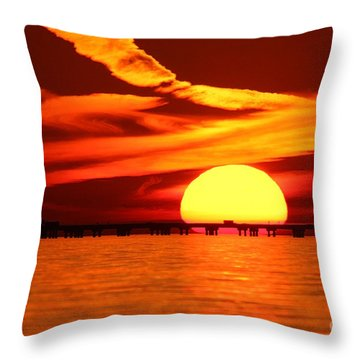Sunset Over Causeway Throw Pillow
