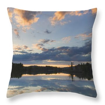 Sunset Over Flying Pond In Vienna Maine Throw Pillow by Keith Webber Jr