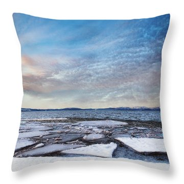 Sunset Over Frozen Lake Throw Pillow