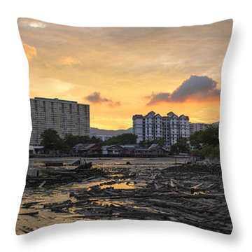 Sunset Over Georgetown Penang Malaysia Throw Pillow by Jit Lim