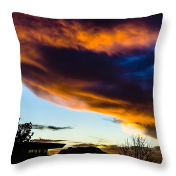 Sunset Over Granite Mountain And Ac1 Throw Pillow