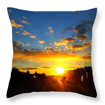 Sunset Over High Way Throw Pillow