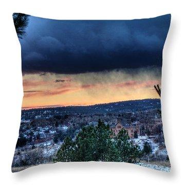 Sunset Over Hot Springs Throw Pillow