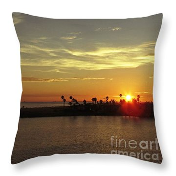 Sunset Over Jetty Point Throw Pillow
