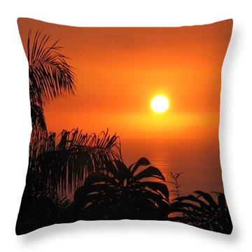 Sunset Over Kona Hawaii Throw Pillow by Sabine Edrissi