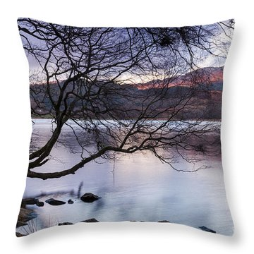 Sunset Over Lake Dinas Throw Pillow by Trevor Chriss