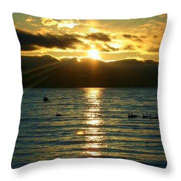 Sunset Over Lake Tahoe Throw Pillow