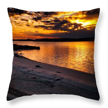 Sunset Over Little Assawoman Bay Throw Pillow