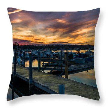 Sunset Over Marina On Mystic River Throw Pillow