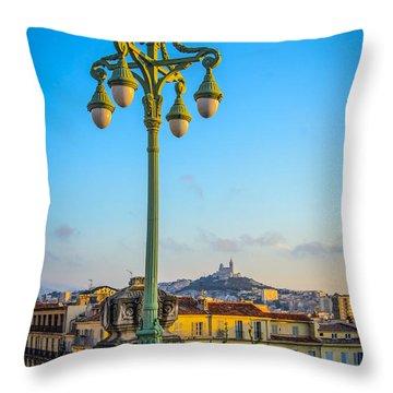 Sunset Over Marseille Throw Pillow
