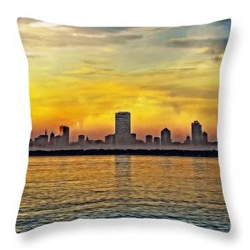 Sunset Over Milwaukee Throw Pillow