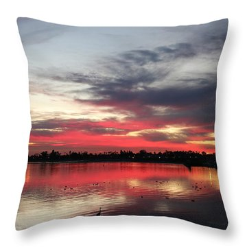 Sunset Over Mission Bay  Throw Pillow by Christy Pooschke