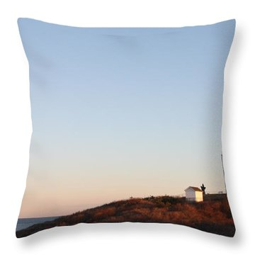 Sunset Over Montauk Lighthouse Throw Pillow
