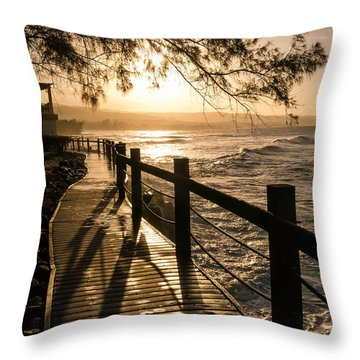 Sunset Over Ocean Walkway Throw Pillow