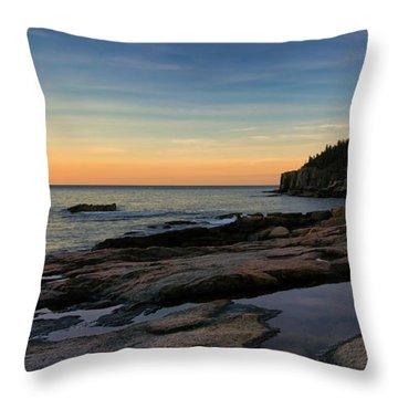 Sunset Over Otter Cliffs Throw Pillow