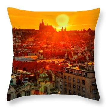 Sunset Over Prague Throw Pillow