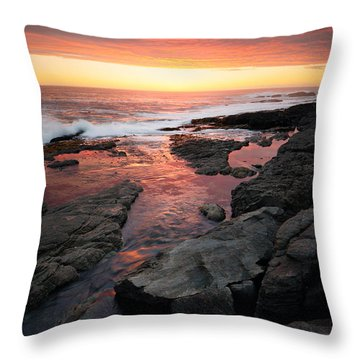 Sunset Over Rocky Coastline Throw Pillow