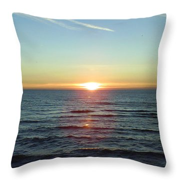 Sunset Over Sea Throw Pillow by Gordon Auld