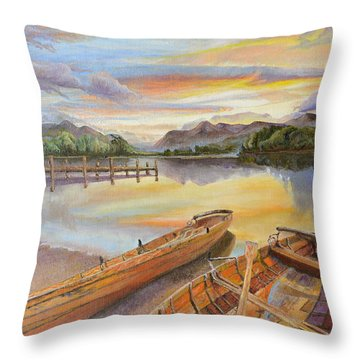 Throw Pillow featuring the painting Sunset Over Serenity Lake by Mary Ellen Anderson