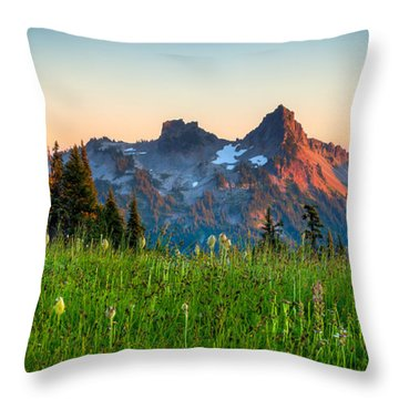 Sunset Over Tatoosh Throw Pillow by Chris McKenna