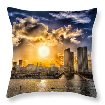 Sunset Over The Arena Hdr Throw Pillow