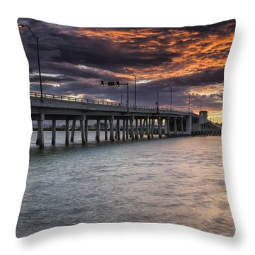 Sunset Over The Drawbridge Throw Pillow