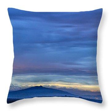 Sunset Over The European Alps Throw Pillow by Bernd Laeschke