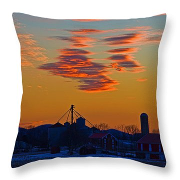 Sunset Over The Farm Throw Pillow