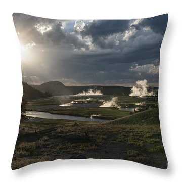 Sunset Over The Firehole River - Yellowstone Throw Pillow by Sandra Bronstein