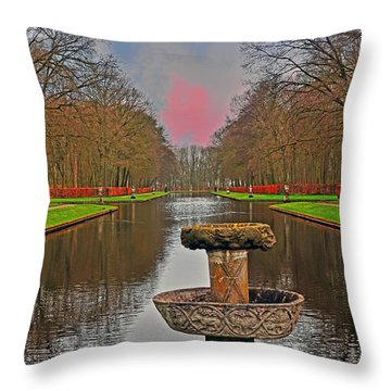 Sunset Over The Garden Throw Pillow