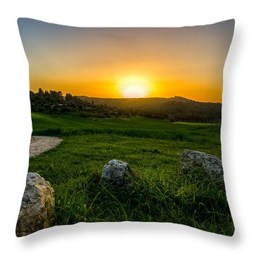 Sunset Over The Judean Hills Throw Pillow