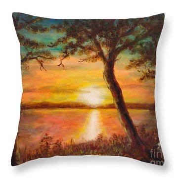 Sunset Over The Lake Throw Pillow by Martin Capek