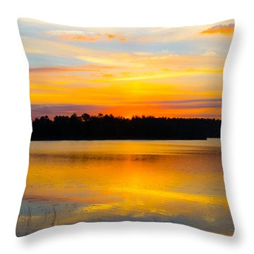 Sunset Over The Lake Throw Pillow