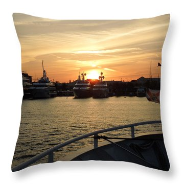Throw Pillow featuring the photograph Sunset Over The Marina by Ron Davidson