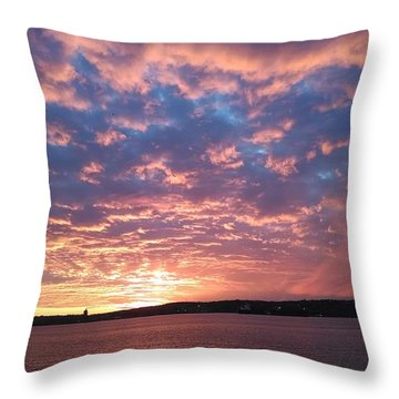 Sunset Over The Narrows Waterway Throw Pillow by John Telfer