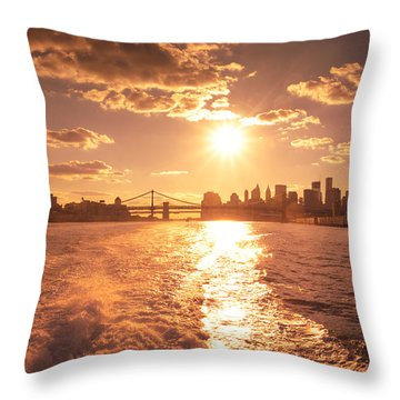 Sunset Over The New York City Skyline Throw Pillow by Vivienne Gucwa