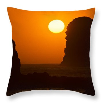 Throw Pillow featuring the photograph Sunset Over The Pacific Ocean With Rock Stacks by Jeff Goulden