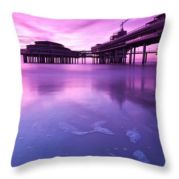 Throw Pillow featuring the photograph Sunset Over The Pier by Mihai Andritoiu